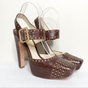 L.A.M.B Brown Platform Perforated High Heels